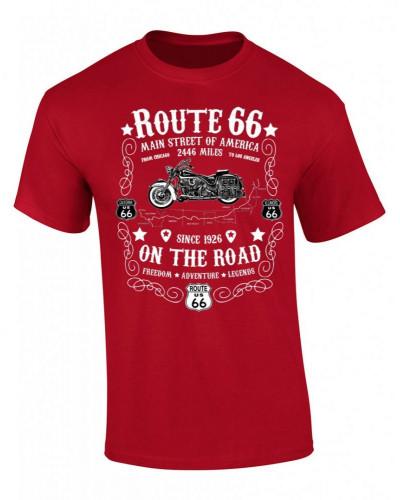 tričko Route 66 On the Road červeno bílé