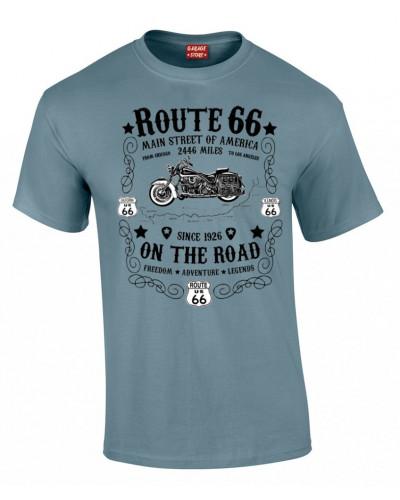 tričko Route 66 On the Road modro černé