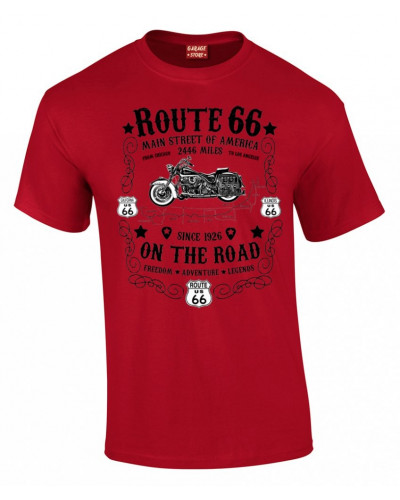 tričko Route 66 On the Road červeno černé