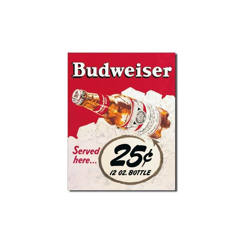 Plechová cedule Budweiser - 25 Cent 40 cm x 32 cm
