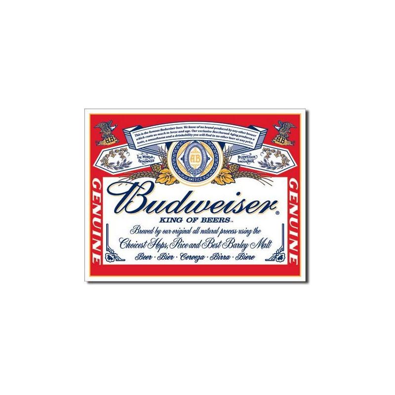 Plechová cedule Budweiser - Label 40 cm x 32 cm