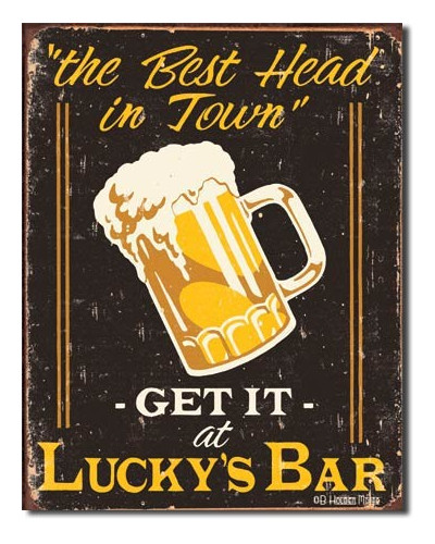Plechová cedule Moore - Luckys Bar