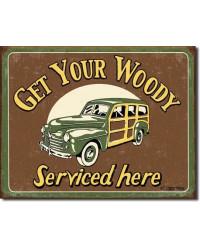 Plechová cedule Moore - Woody Service 40 cm x 32 cm