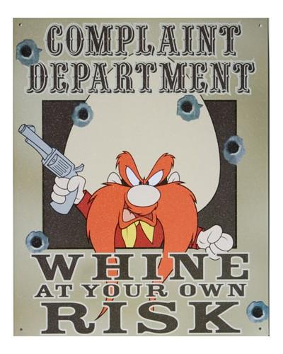 Plechová cedule Complaint Department 30cm x 38 cm