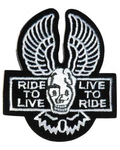 Moto nášivka Ride to Live - Live to Ride 7 cm x 8,5 cm