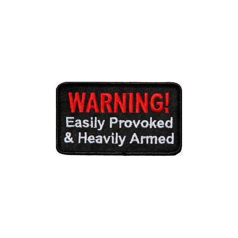 Moto nášivka Warning - provoked 5 cm x 9 cm