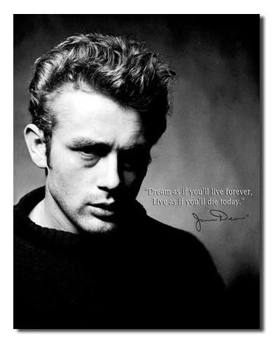 Plechová cedule James Dean- Live forever 40 cm x 32 cm