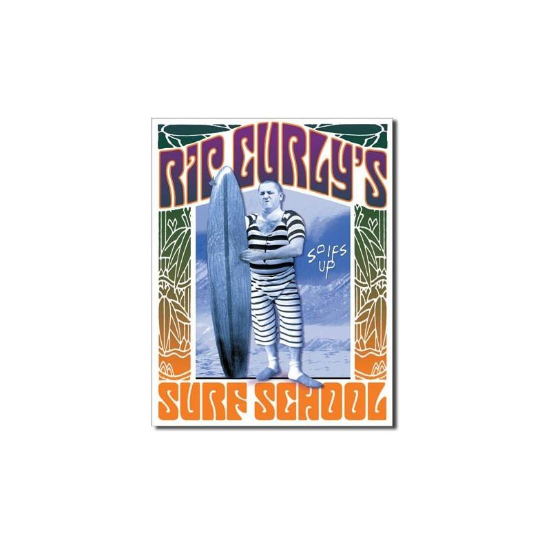 Plechová cedule Rip Curlys Surf School 32 cm x 40 cm