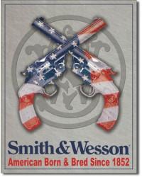 Plechová cedule S&W American Born 32 cm x 40 cm