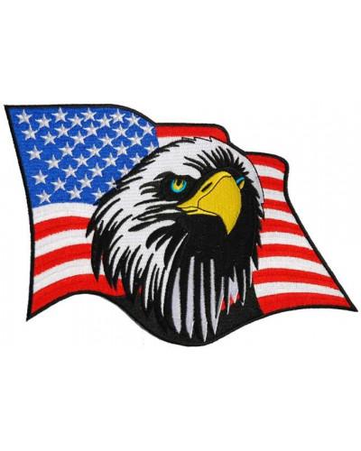 Moto nášivka Eagle US Flag velká 18 cm x 18 cm
