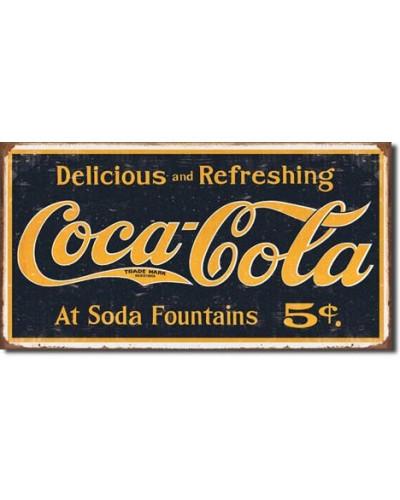 Plechová cedule Coca Cola 1910 logo weathered 24cm x 40 cm