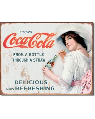 Plechová cedule Coca Cola - Thru a Straw 32cm x 40 cm
