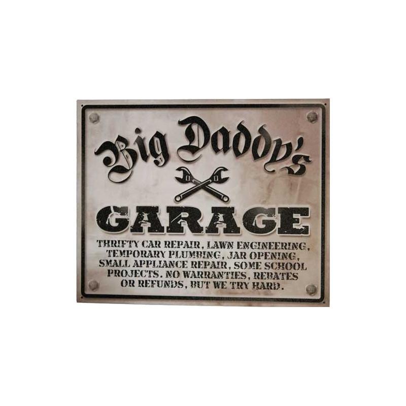 Plechová cedule Big Daddys Garage 30 cm x 38 cm