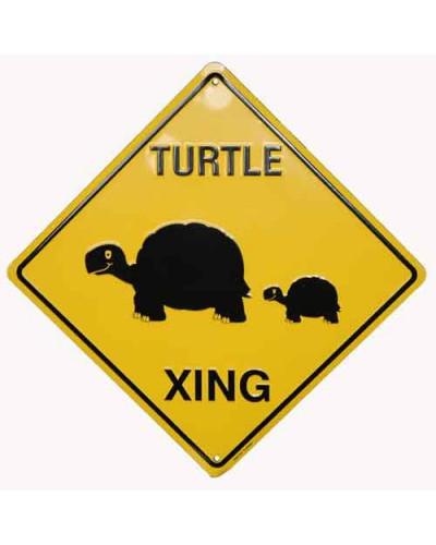 Plechová cedule Turtles crossing 30 cm x 30 cm