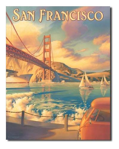 Plechová cedule San Francisco Golden Gate 40 cm x 32 cm