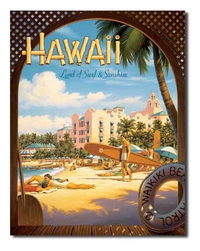 Plechová cedule Hawaii Sun and Surf 40 cm x 32 cm