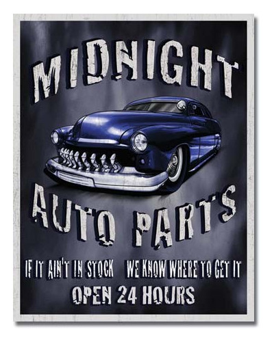 Plechová cedule Legends Midnight Auto Parts 32cm x 40 cm