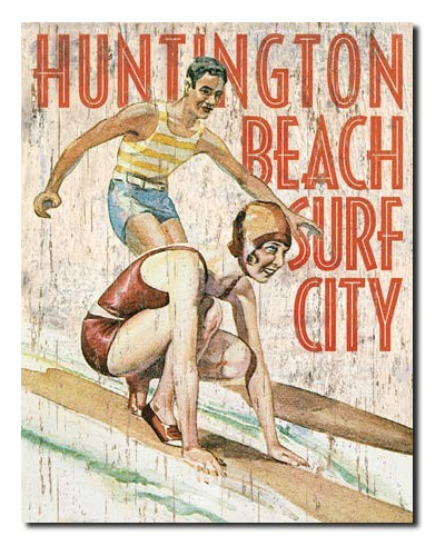 Plechová cedule Huntington Beach Surf Club 40 cm x 32 cm