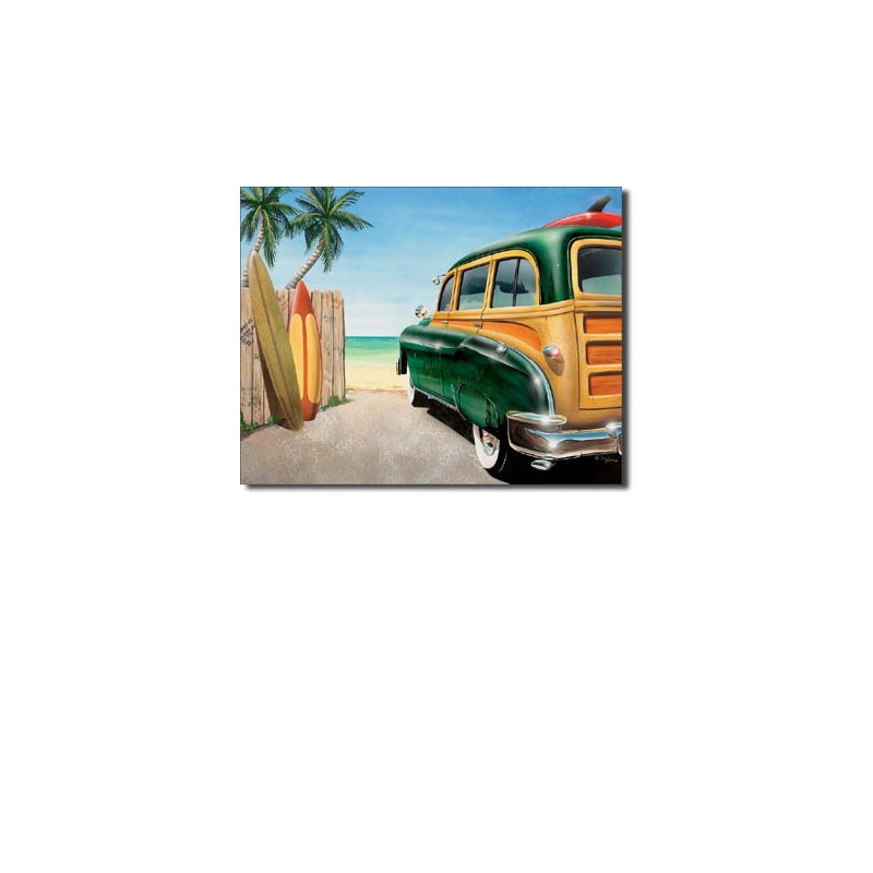 Plechová cedule Retro Auto Beach Woody 40 cm x 32 cm