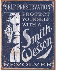 Plechová cedule S&W Self Preservation 40 cm x 32 cm