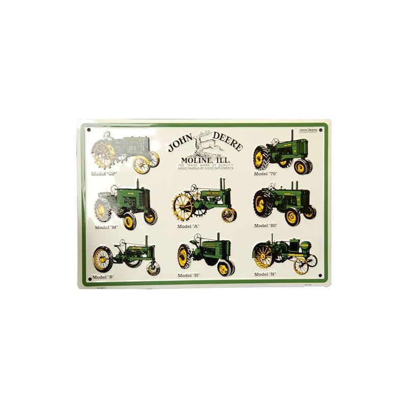 Plechová cedule John Deere models 30 cm x 45 cm