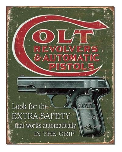 Plechová cedule COLT - Extra Safety 40 cm x 32 cm