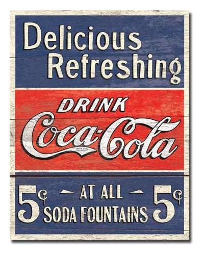 Cedule Coca Cola - Delicious 5 Cents