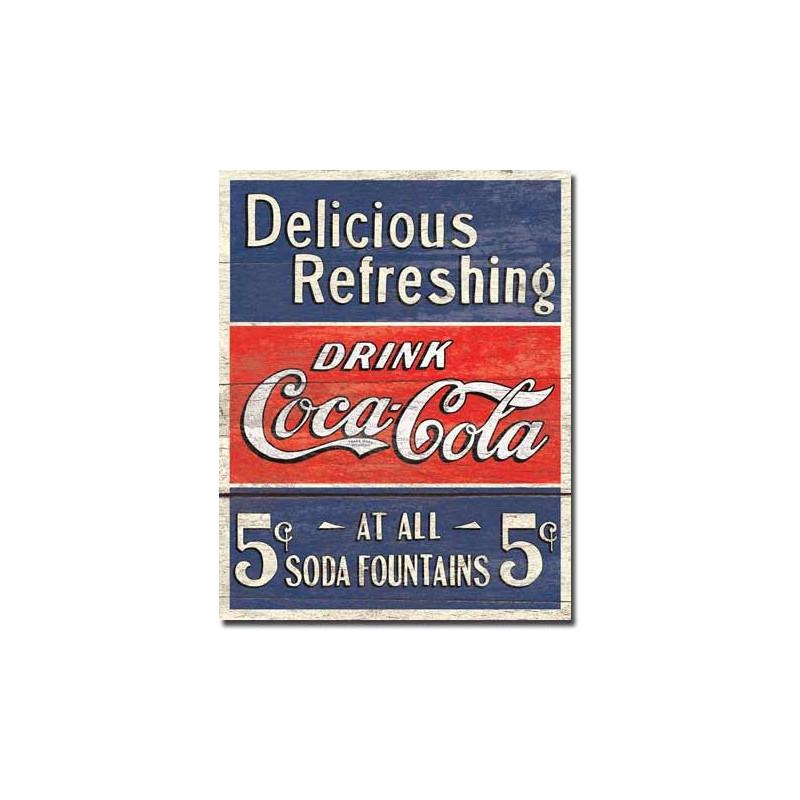 Plechová cedule Coca Cola - Delicious 5 Cents 32 cm x 40 cm