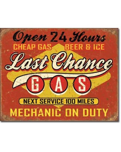 Plechová cedule Last Chance Gas 40 cm x 32 cm