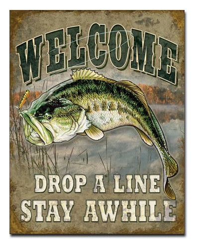 Plechová cedule Welcome Bass Fishing 40 cm x 32 cm