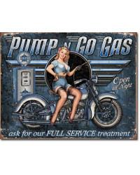 Plechová cedule Pump n Go Gas 40 cm x 32 cm
