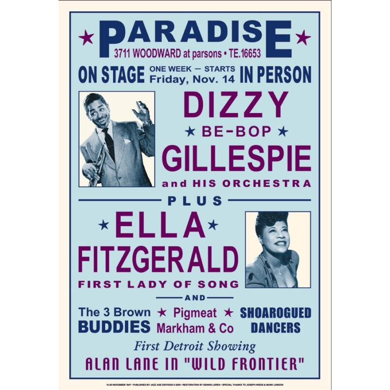 Koncertní plakát Dizzy + Ella, 1947