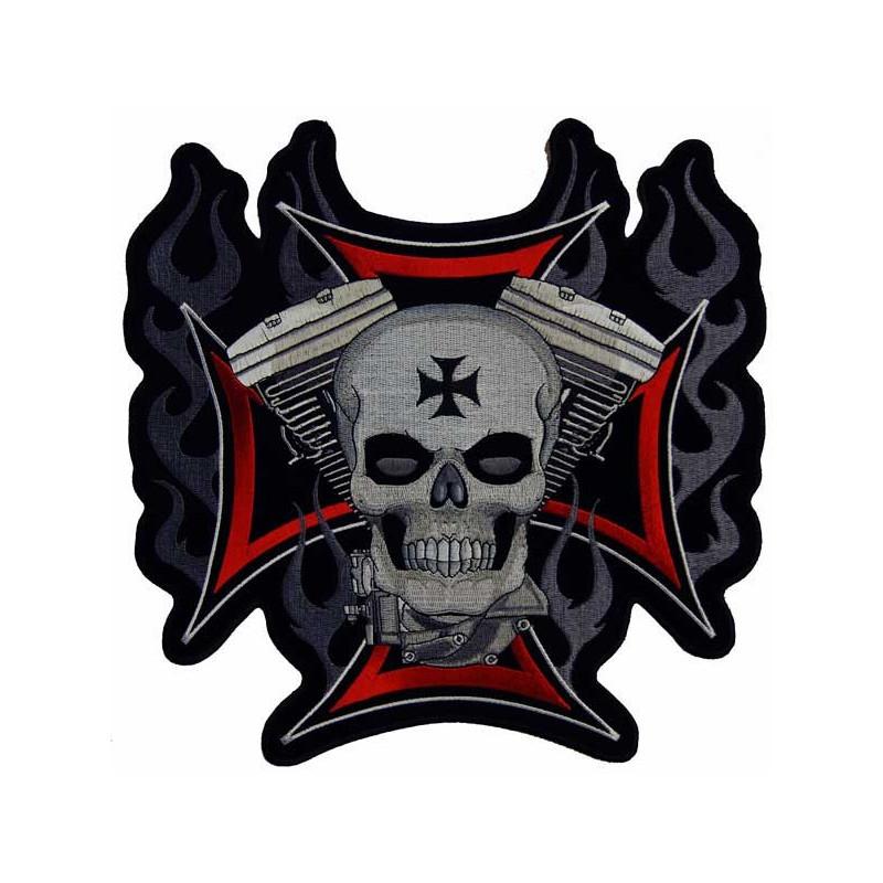 Moto nášivka BS Cross Motor Skull XXL na záda 28 cm  x 27,5 cm