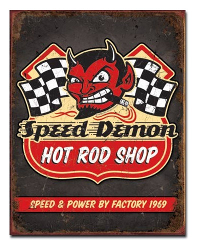 Plechová cedule Speed Demon Hot Rods 40cm x 32cm