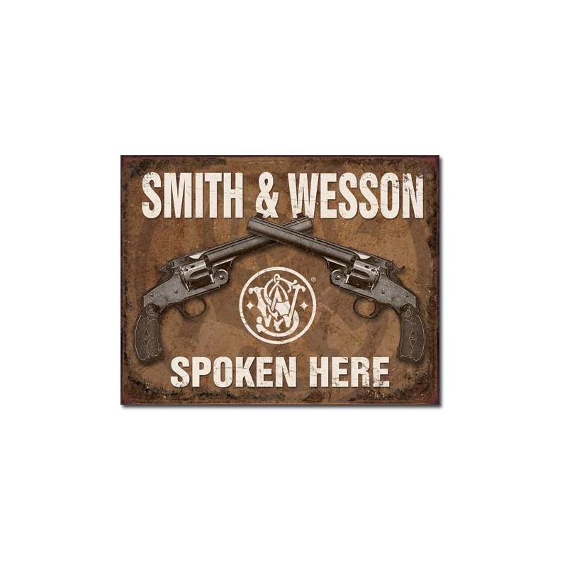 Plechová cedule SW - Spoken Here 40 cm x 32 cm