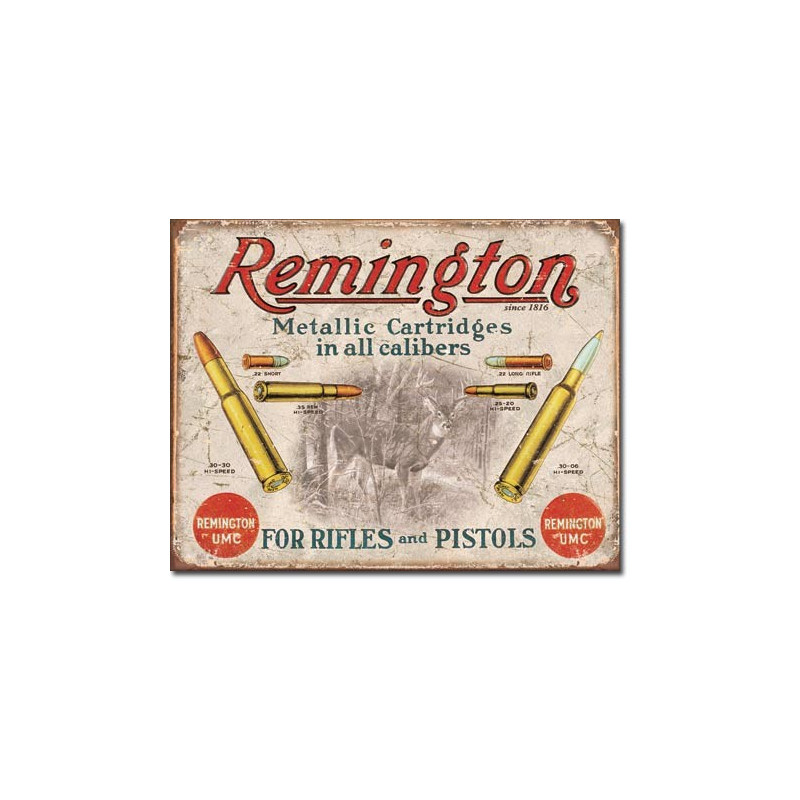 Plechová cedule REMINGTON - For Rifles and Pistols 40 cm x 32 cm