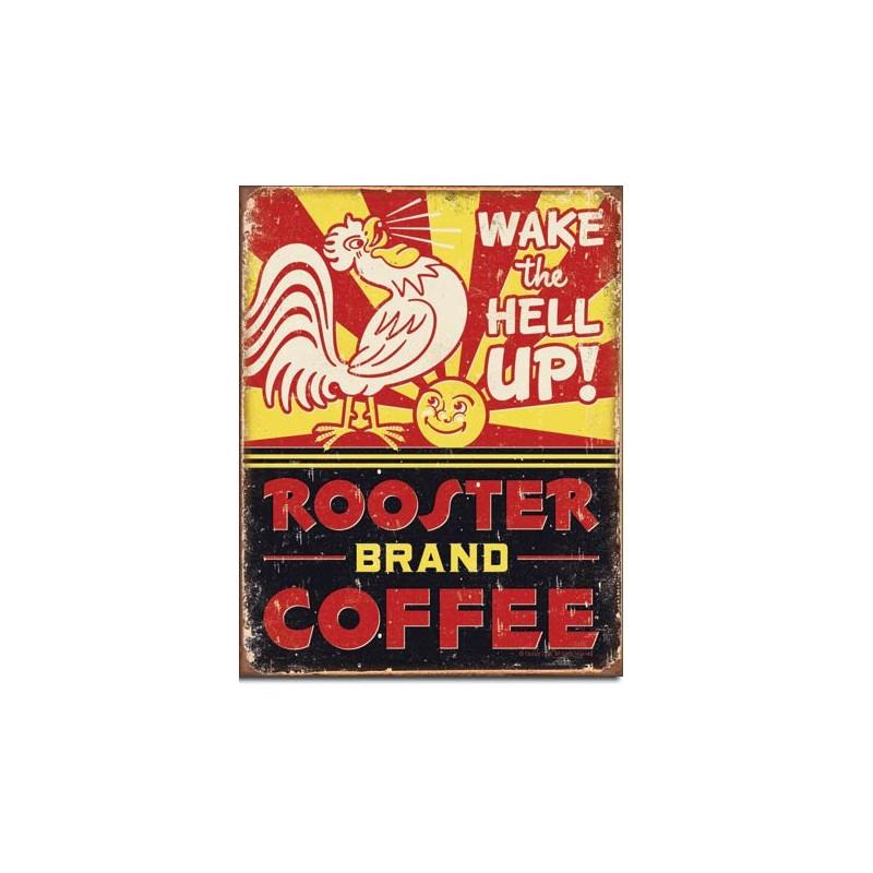 Plechová cedule Rooster Brand Coffee 40 cm x 32 cm