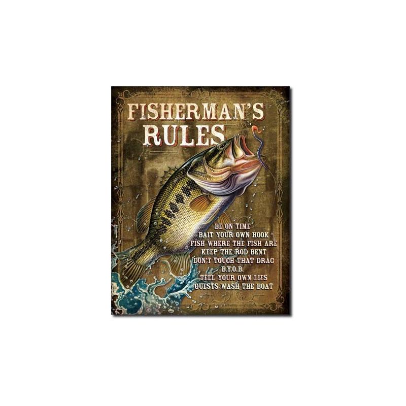 Plechová cedule JQ - Fisherman's Rules 40 cm x 32 cm