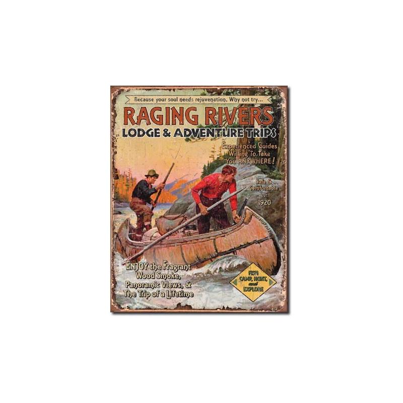Plechová cedule JQ - Raging Rivers Trips 40 cm x 32 cm