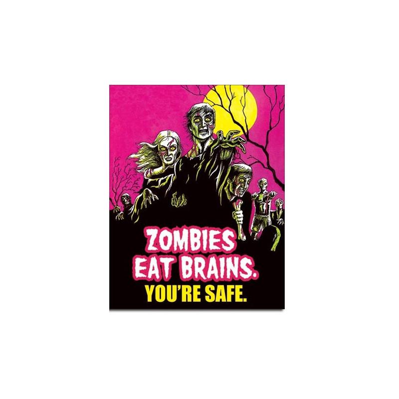 Plechová cedule Zombies Eat Brains 40 cm x 32 cm