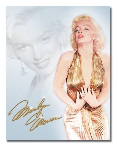 Plechová cedule Monroe - Gold Dress 40 cm x 32 cm