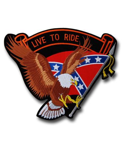 Moto nášivka Live to Ride Rebel Eagle Brown XXL na záda
