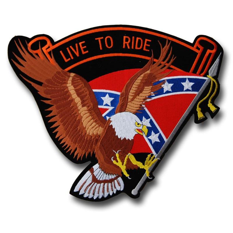 Moto nášivka Live to Ride Rebel Eagle Brown XXL na záda 37 cm x 32 cm