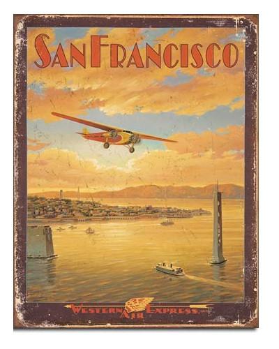 Plechová cedule San Francisco - Western Air 40 cm x 32 cm