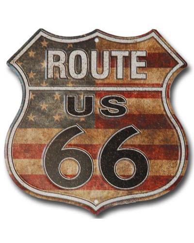 Plechová cedule Route 66 shield US Flag