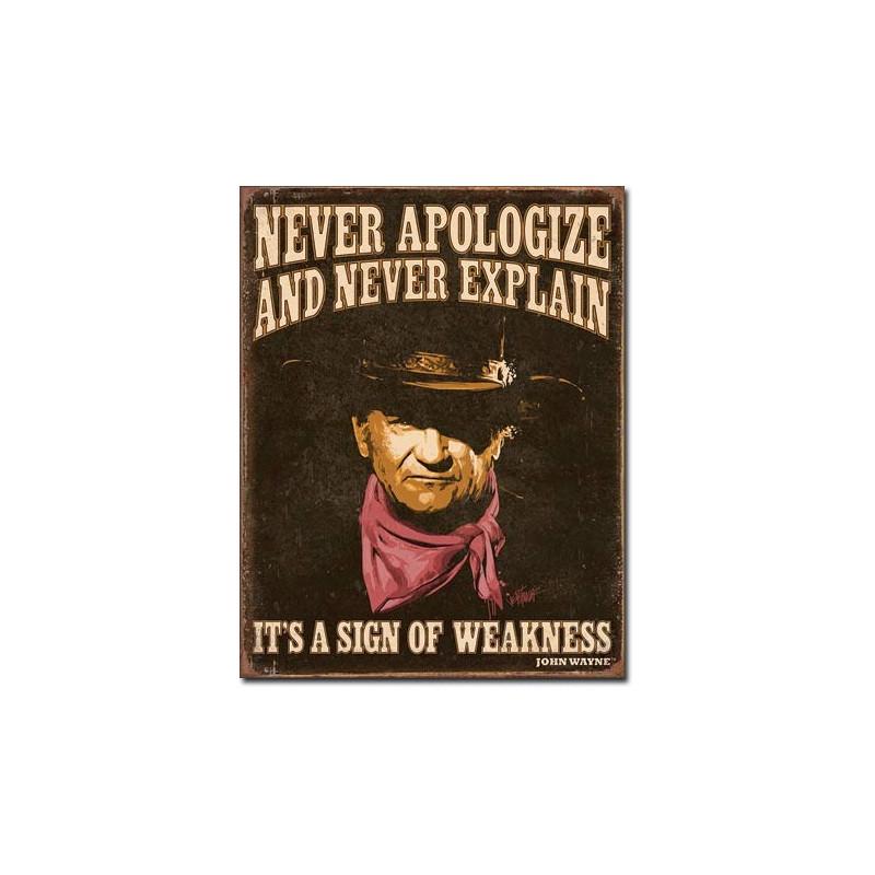 Plechová cedule Wayne - Sign of Weakness 32cm x 40 cm