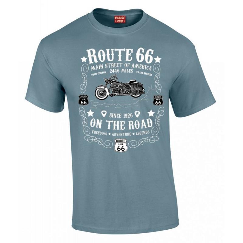 Tričko Route 66 On The Road modré