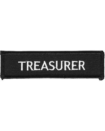Moto nášivka Treasurer white 10cm x 2,5cm