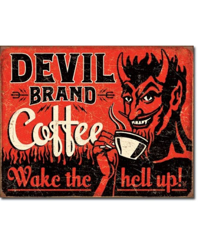 Plechová á cedule Devil Brand Coffee 40 cm x 32 cm