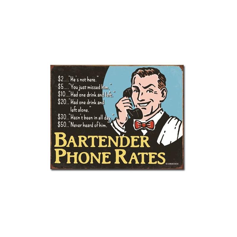 Plechová cedule Bartenders Phone Rates 32 cm x 40 cm